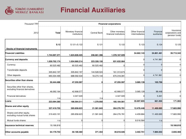 Financial Auxiliaries