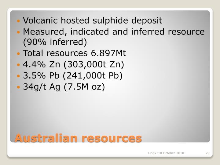 Volcanic hosted sulphide deposit
