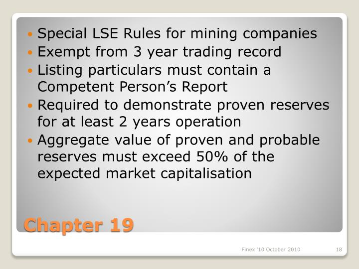 Special LSE Rules for mining companies