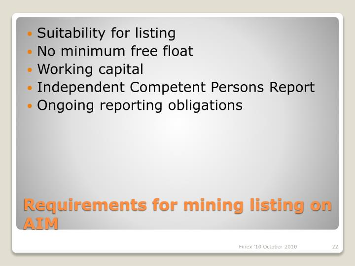 Suitability for listing
