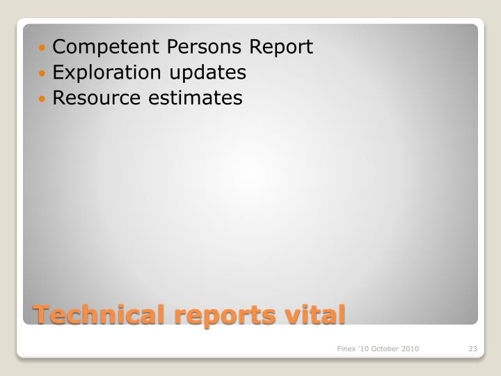 Competent Persons Report