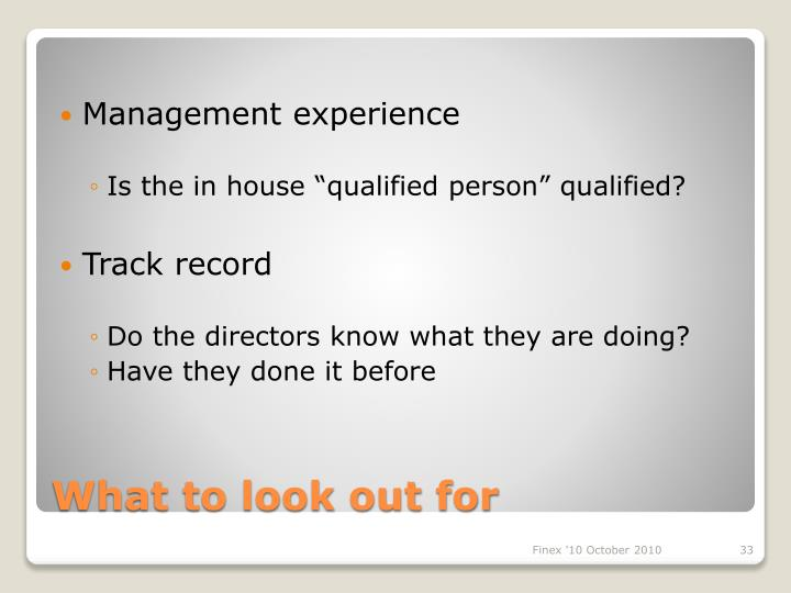 Management experience