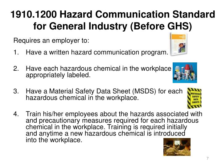 1910.1200 Hazard Communication Standard for General Industry (Before GHS)