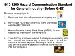 1910 1200 hazard communication standard for general industry before ghs
