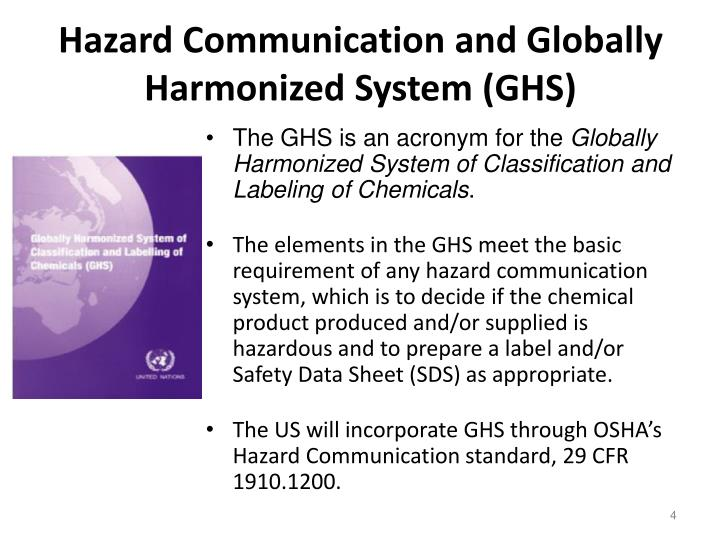 Hazard Communication and Globally Harmonized System (GHS)