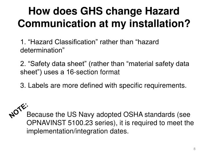 How does GHS change Hazard Communication at my installation?