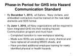 phase in period for ghs into hazard communication standard