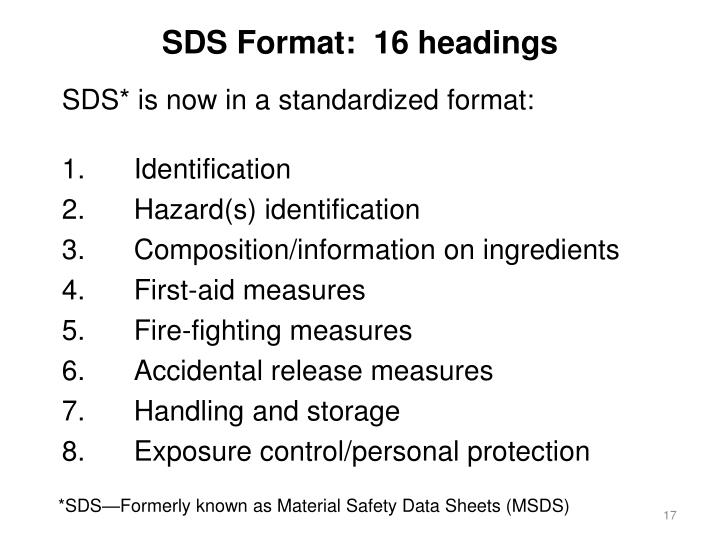SDS Format:  16 headings