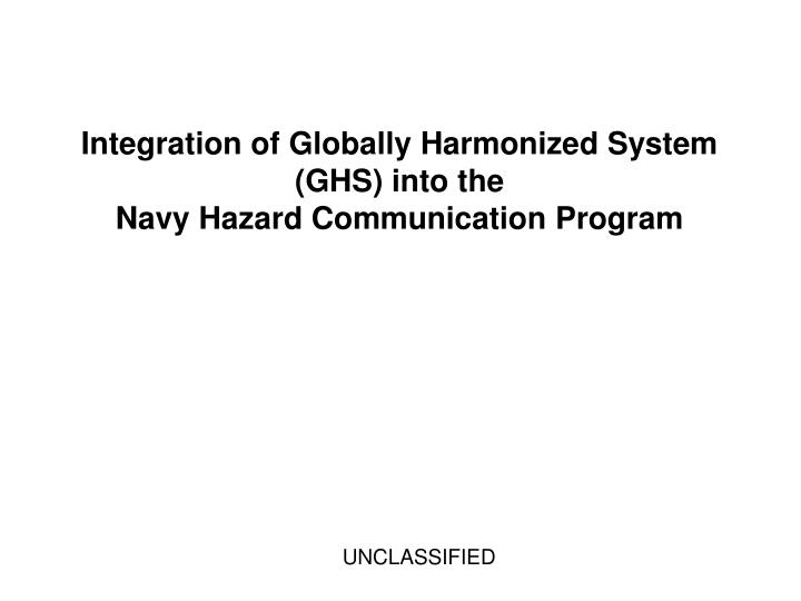 Integration of Globally Harmonized System (GHS) into the