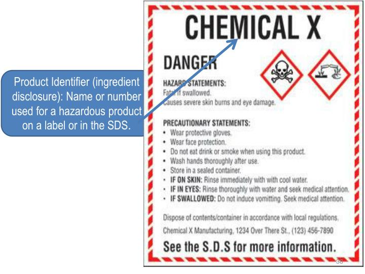 Product Identifier (ingredient disclosure): Name or number used for a hazardous product on a label or in the SDS