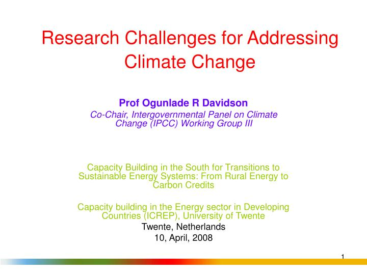 Research Challenges for Addressing Climate Change