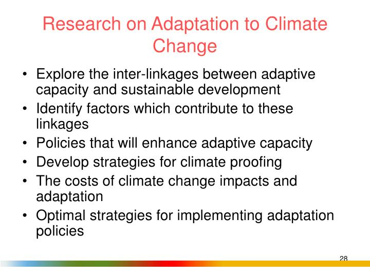 Research on Adaptation to Climate Change