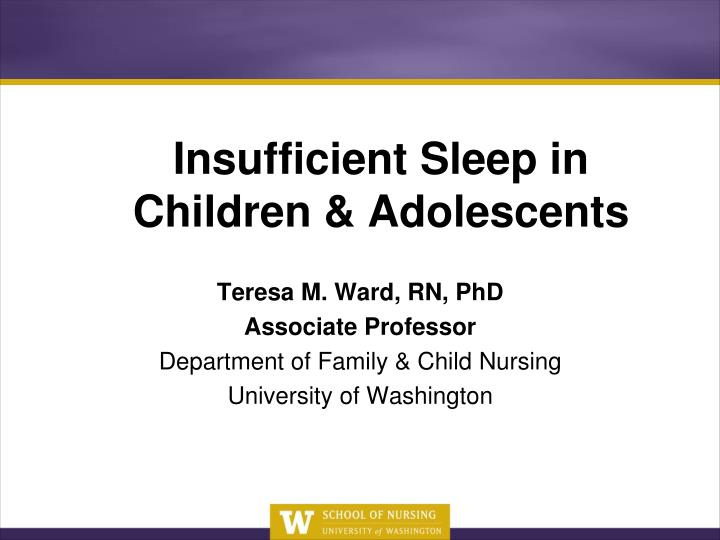 Insufficient sleep in children adolescents