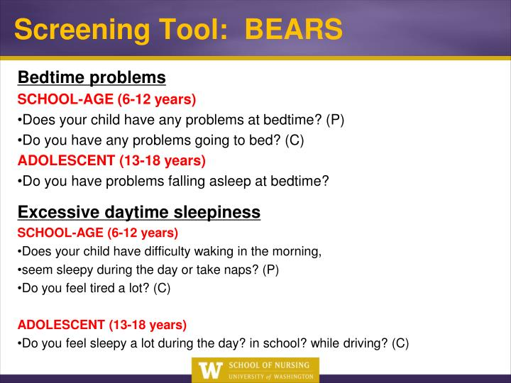 Screening Tool:  BEARS
