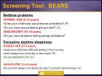 screening tool bears