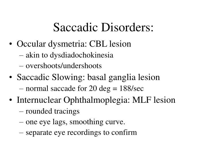 Saccadic Disorders: