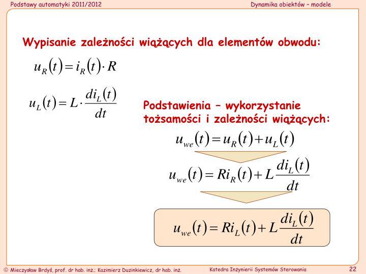 Wypisanie zależności wiążących dla elementów obwodu: