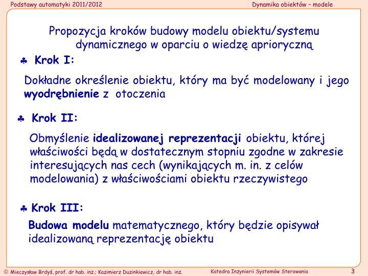Propozycja kroków budowy modelu obiektu/systemu dynamicznego w oparciu o wiedzę aprioryczną