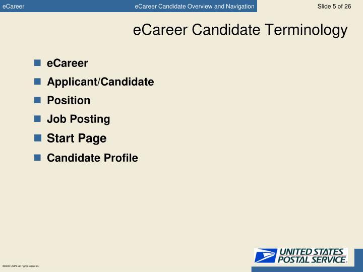 eCareer Candidate Terminology