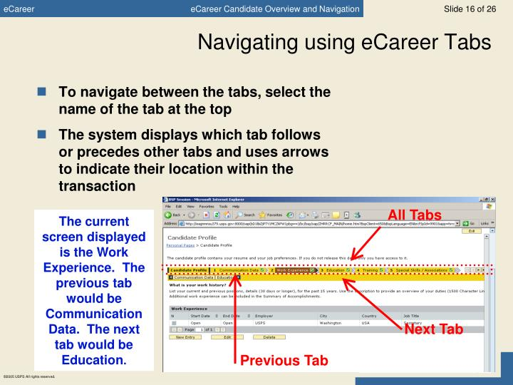 Navigating using eCareer Tabs