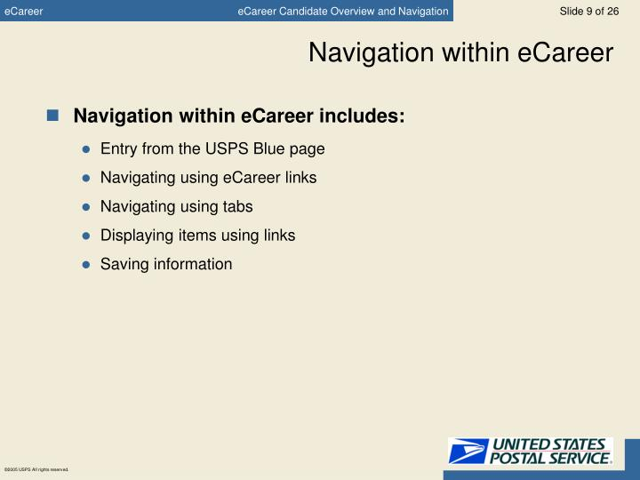 Navigation within eCareer