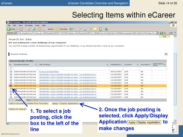 Selecting Items within eCareer