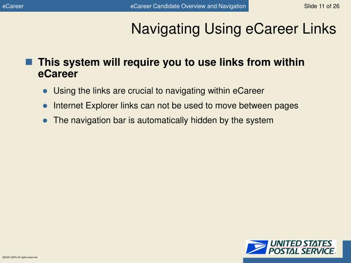 Navigating Using eCareer Links
