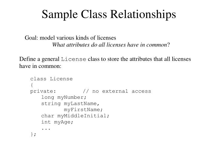 Sample Class Relationships