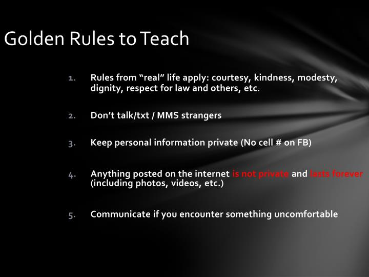 Golden Rules to Teach