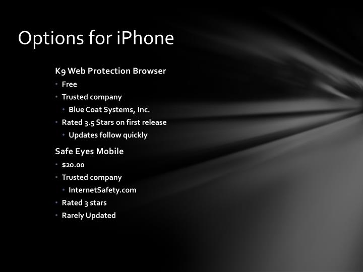 Options for iPhone