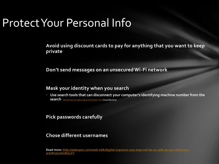 Protect Your Personal Info
