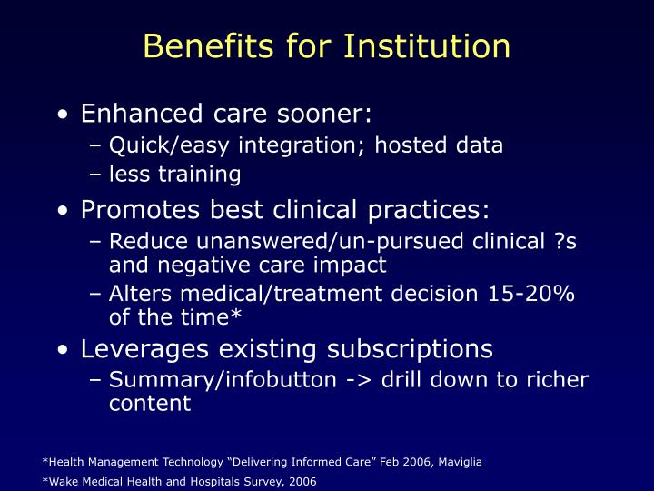 Benefits for Institution