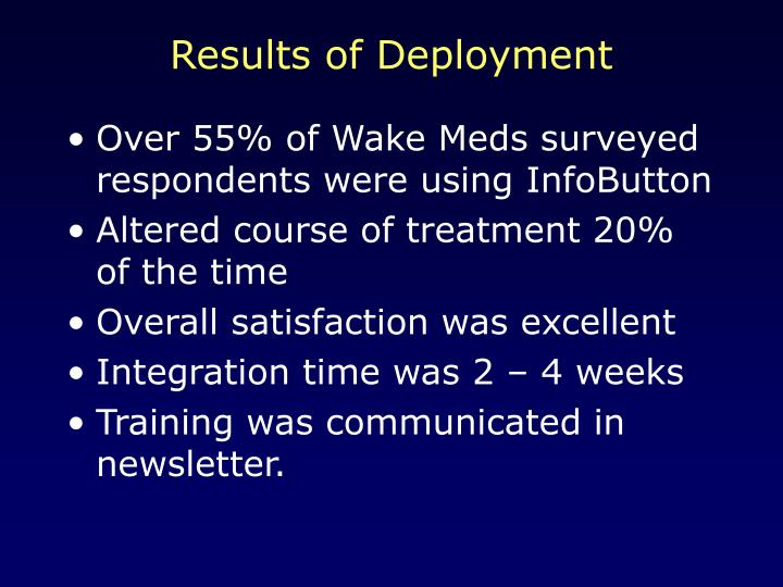 Results of Deployment