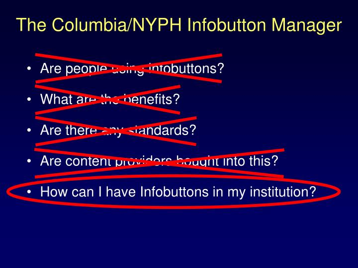 The Columbia/NYPH Infobutton Manager