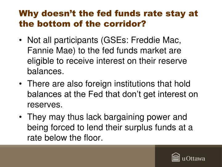 Why doesn't the fed funds rate stay at the bottom of the corridor?