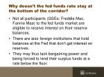 why doesn t the fed funds rate stay at the bottom of the corridor