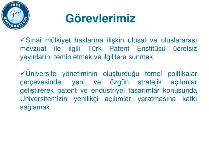 Sınai mülkiyet haklarına ilişkin ulusal ve uluslararası mevzuat ile ilgili Türk Patent Enstitüsü ücretsiz yayınlarını temin etmek ve ilgililere sunmak