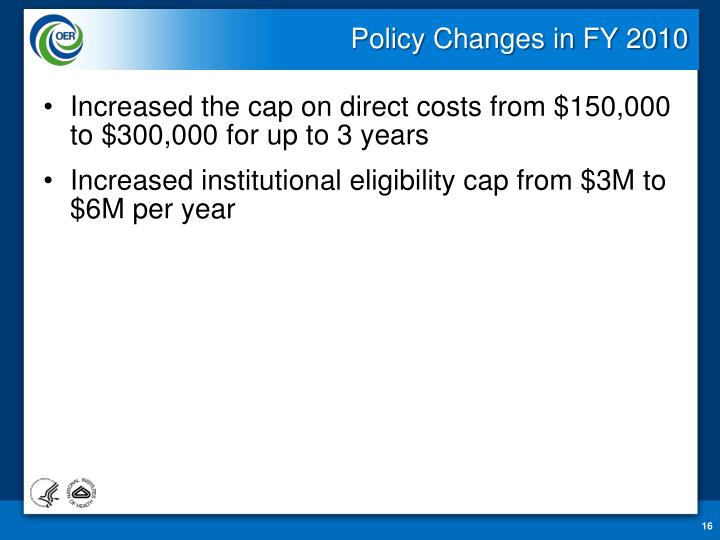 Policy Changes in FY 2010