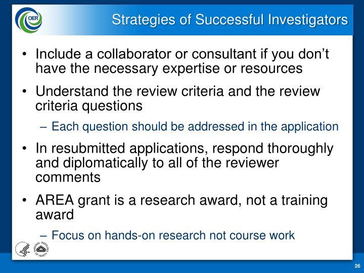 Strategies of Successful Investigators