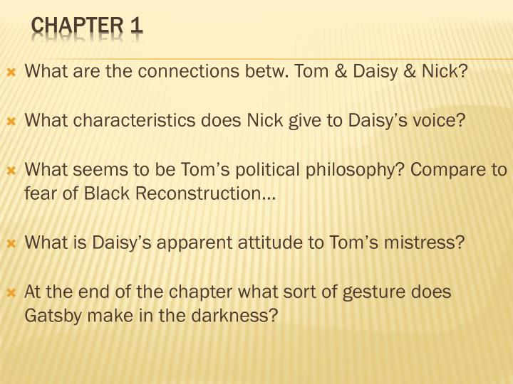 What are the connections betw. Tom & Daisy & Nick?