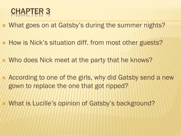 What goes on at Gatsby's during the summer nights?