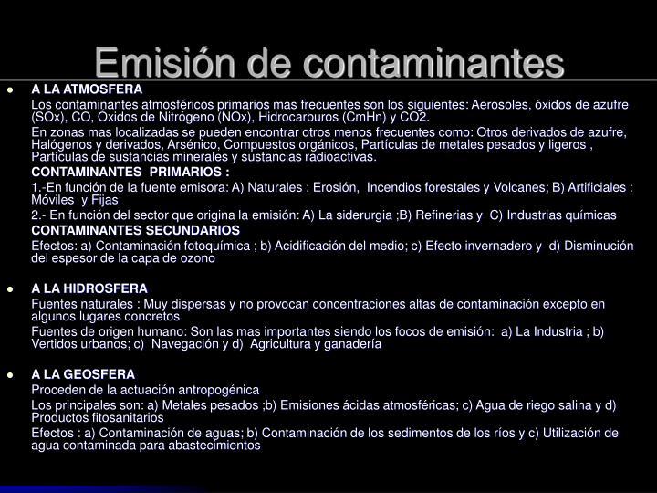 Emisión de contaminantes