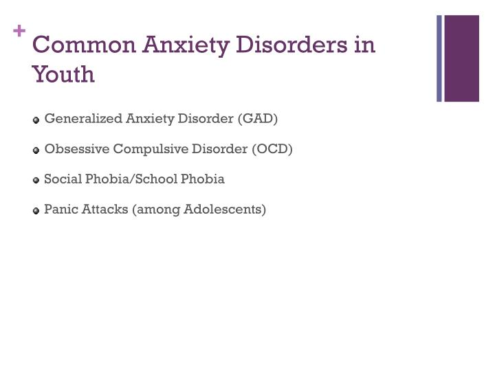 Common anxiety disorders in youth