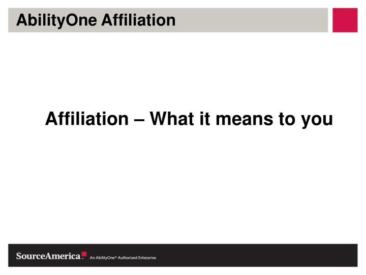 AbilityOne Affiliation