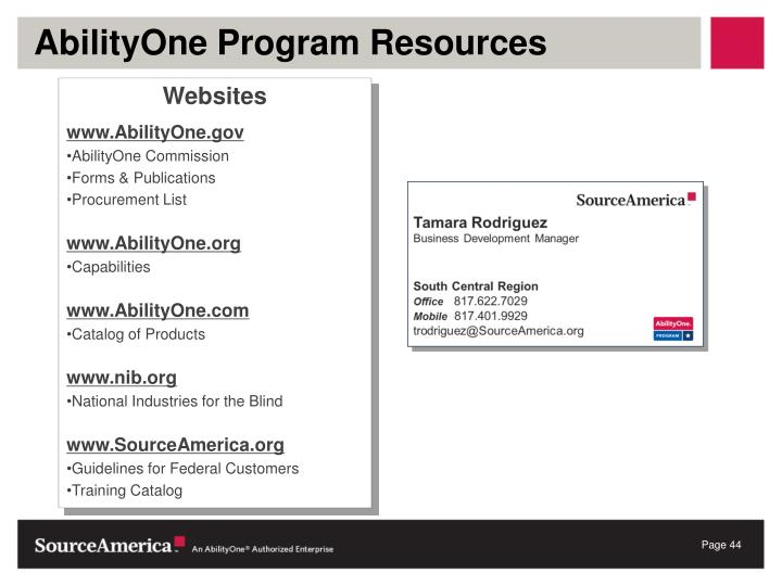 AbilityOne Program Resources