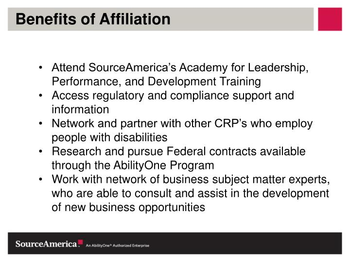 Benefits of Affiliation