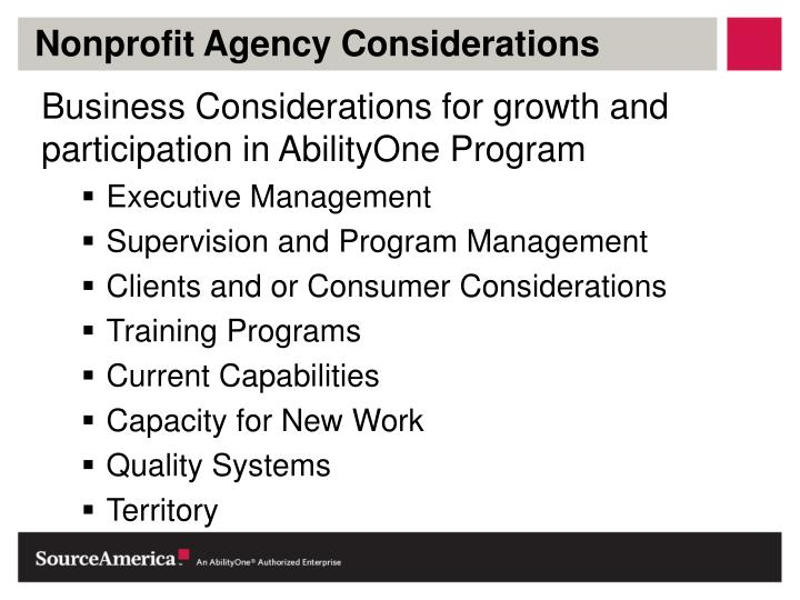Nonprofit Agency Considerations