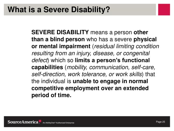 What is a Severe Disability?