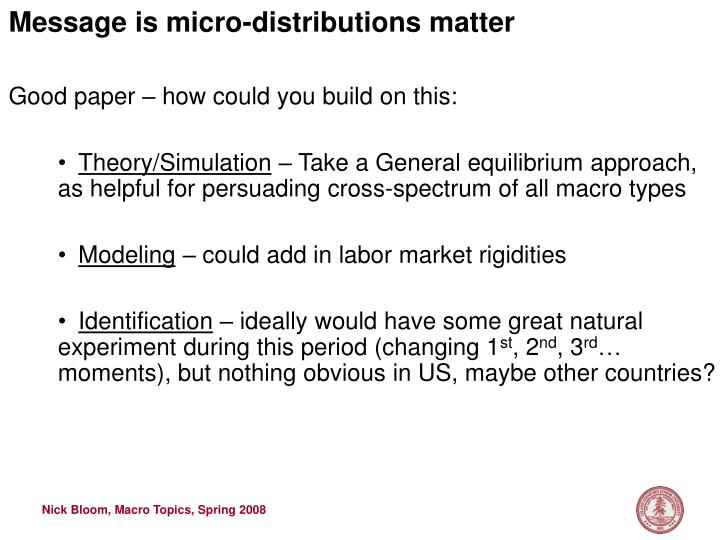 Message is micro-distributions matter