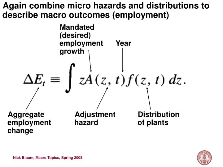Again combine micro hazards and distributions to describe macro outcomes (employment)